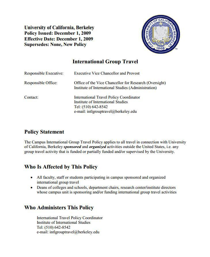 International Group Travel Policy
