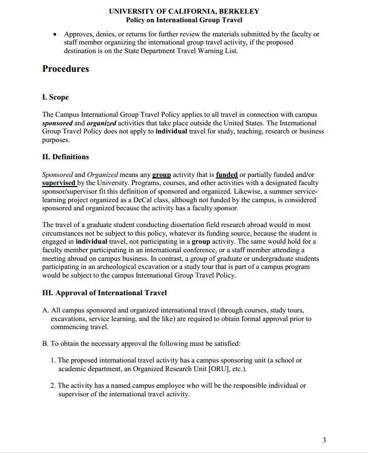Page 3 of International Group Travel Policy