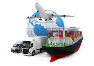 Globe behind a plane, container vessel, shipping and delivery trucks